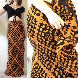 Vintage Skirts - Black Orange Halloween Afghan Knit SET